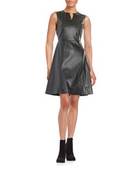 Tahari By Arthur S. Levine Leatherette Fit And Flare Dress Black