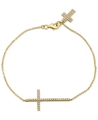 Crislu 18K Gold Vermeil Over Sterling Silver Cubic Zirconia 1 4 Ct. T.W. Cross Charm Bracelet