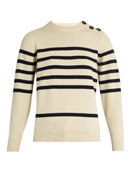 Mih Jeans Sophia Breton Striped Cashmere Crew Neck Sweater Ivory