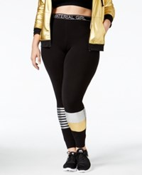 Material Girl Active Plus Size Metallic Patchwork Leggings Only At Macy's Classic Black