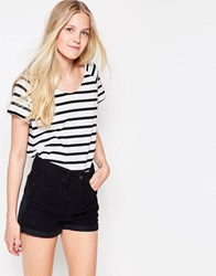 Vila Dreamers Striped U Neck T Shirt White W. Black