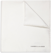 Turnbull And Asser Silk Pocket Square White