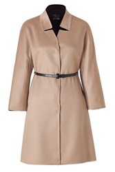 Fendi Camel Cashmere Coat With Studded Leather Belt Gr. 36