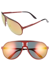 Carrera 61Mm Aviator Sunglasses Matte Red Grey Gradient