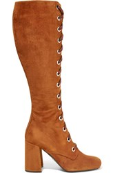 Prada Lace Up Suede Knee Boots Brown