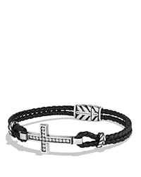 David Yurman Cross Bracelet With Gray Sapphires And Blue Lace Agate Black