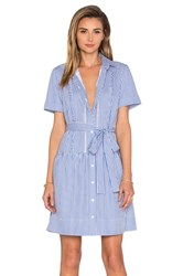 Kate Spade Pinstripe Shirt Dress Blue