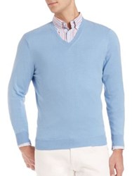 Faconnable Cashmere Blend V Neck Sweater Baby Blue