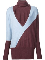 Tome Cut Out Turtleneck Sweater Blue