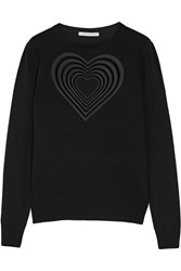 Christopher Kane Love Heart Guipure Lace Trimmed Wool And Cashmere Blend Sweater