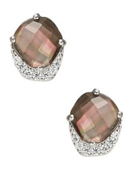 Nadri Black Mother Of Pearl And Sterling Silver Abstract Stud Earrings