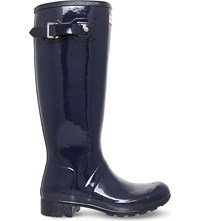Hunter Original Gloss Rubber Wellington Boots Blue Dark