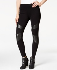 Material Girl Juniors' Faux Leather Trim Leggings Only At Macy's Caviar Black