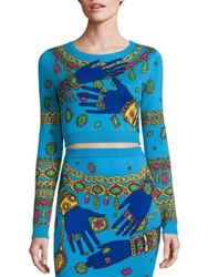 Moschino Jewel Graphic Cotton Cropped Top Blue Hand Print