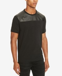 Kenneth Cole Reaction Men's Mixed Media Faux Leather Trim T Shirt Black