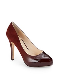 Vince Camuto Signature Browynn Patent Leather And Suede Platform Pumps Dark Brown