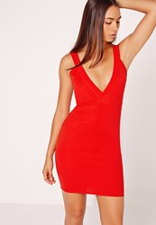 Missguided Ponte Plunge Bodycon Dress Red Red