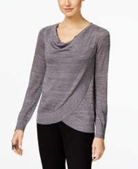 Inc International Concepts Draped Metallic Sweater Only At Macy's Silver