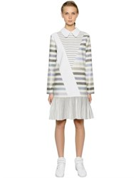 Anna K Striped Cotton Poplin And Canvas Dress