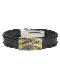 Todd Reed Leather Cuff Bracelet With Black Diamonds