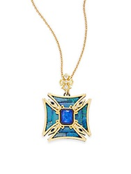 Armenta Old World Boulder Opal Mosaic Lapis White And Blue Sapphire Diamond And 18K Yellow Gold Square Cross Pendant Gold Blue