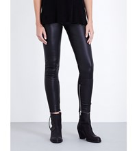 Unravel Skinny High Rise Leather Jeans Black Silver