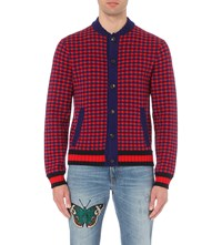 Gucci Houndstooth Wool And Cashmere Cardigan Navy Red