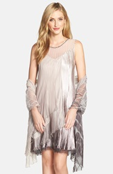 Komarov Tiered Shift Dress And Shawl Cafe Ombre