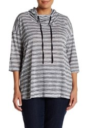 Hip Lightweight Striped Pullover Plus Size Black