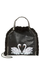 Stella Mccartney 'Mini Falabella Shaggy Deer' Embroidered Faux Leather Crossbody Bag