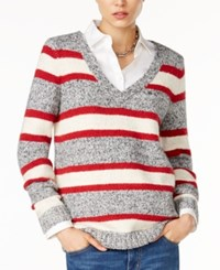 Tommy Hilfiger Lillian Striped V Neck Sweater Only At Macy's Masters Navy