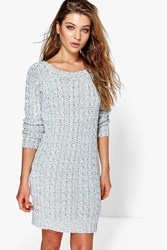 Boohoo Cable Knit Mini Dress Grey