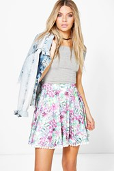 Boohoo Bright Palm Pom Pom Trim Skater Skirt Multi