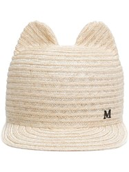 Maison Michel Straw Cap Nude And Neutrals