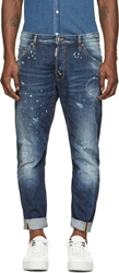 Dsquared Blue Patched And Bleached Kenny Ring Twist Jeans