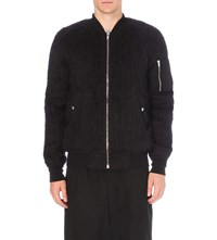 Rick Owens Brushed Mohair Blend Bomber Jacket Black