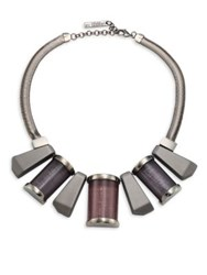 Lafayette 148 New York Art Deco Collar Necklace Blue Storm