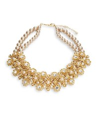 Carolee Faux Pearl Accented Floral Statement Necklace Gold