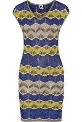 M Missoni Metallic Crochet Knit Mini Dress Blue