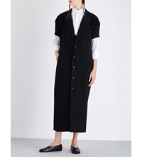 Yohji Yamamoto Pleated Sleeve Wool Coat Black