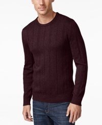 John Ashford Men's Crew Neck Striped Texture Sweater Only At Macy's Red Plum