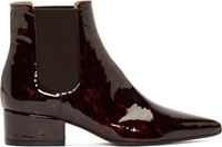 Maison Martin Margiela Dark Brown Tortoiseshell Patent Leather Chelsea Boots