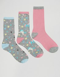 Chelsea Peers Star Unicorn 3 Pack Socks Multicoloured