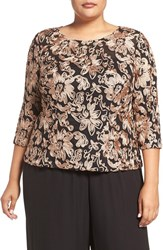 Alex Evenings Plus Size Women's Embroidered Illusion Neck Blouse