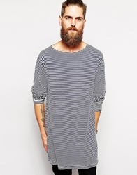 American Apparel Stripe Longline Top With Boat Neck Blue