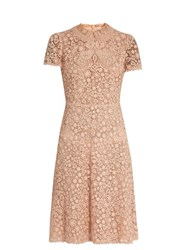 Red Valentino Floral Lace Short Sleeved Dress Nude
