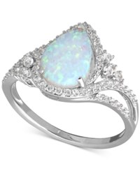 Macy's Lab Created Opal 3 4 Ct. T.W. And White Sapphire 3 8 Ct. T.W. Ring In Sterling Silver