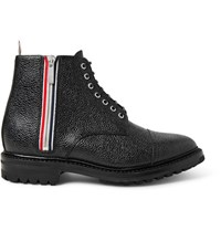 Thom Browne Stripe Trimmed Pebble Grain Leather Boots Black