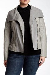Bnci By Blanc Noir Draped Front Faux Leather Jacket Plus Size Gray