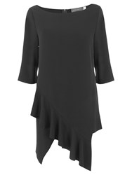 Mint Velvet Asymmetric Ruffle Tunic Black